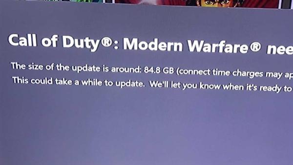 使命召唤Xbox版要更新84GB,大家表示很抓狂